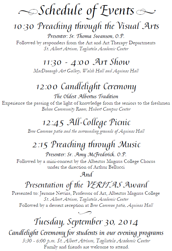 Schedule of Events Founders' Day 2014