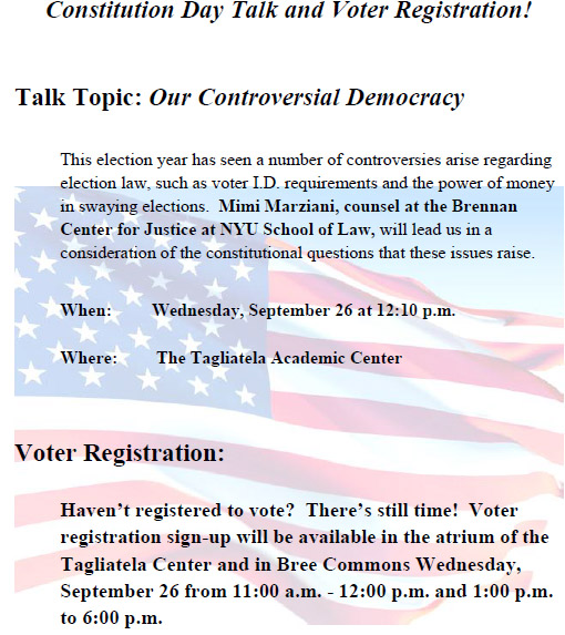 Constitution Day Talk and Voter Registration!